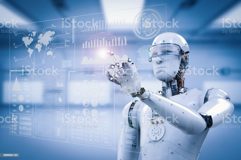 robot working with digital display stock photo