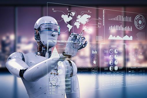 Robot Working With Digital Display - Fotografie stock e altre immagini di Braccio robotico
