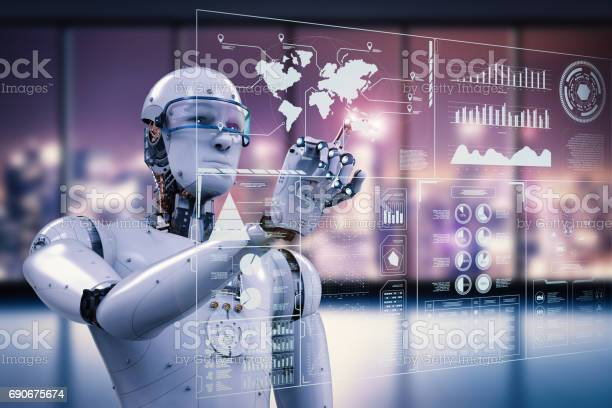 Robot Working With Digital Display Stock Photo - Download Image Now