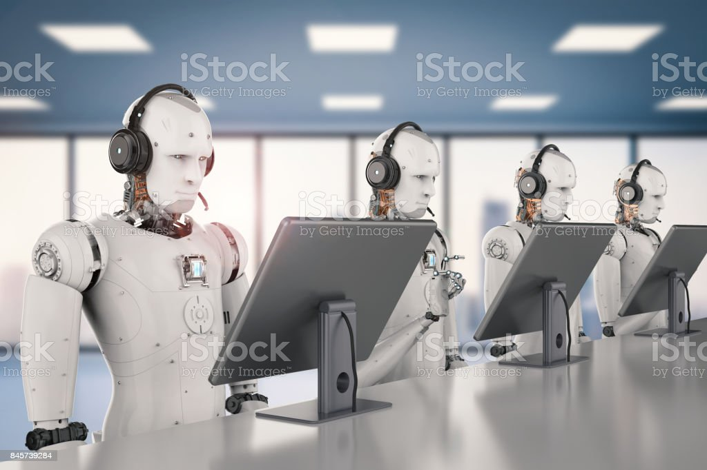 robot working with headset and monitor stock photo