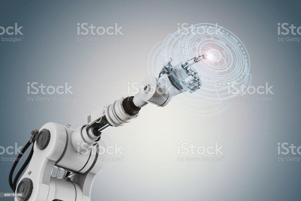 robot working with virtual display stock photo