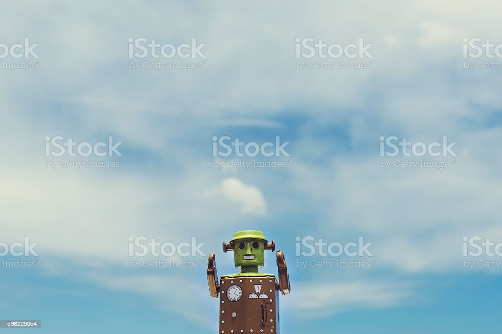 Robot World Sky Background Concept foto royalty-free