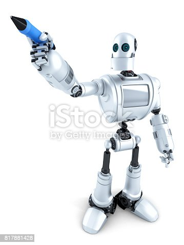 istock Robot writing on invisible screen. Isolated. Contains clipping path 817881428
