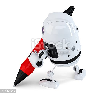 istock Robot writing with a pen. Isolated. Contains clipping path 474324942
