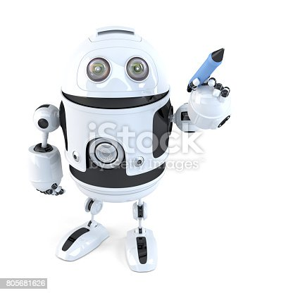 istock Robot writing with a pen. Isolated. Contains clipping path 805681626
