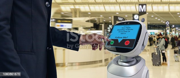 istock robotic advisor technology concept,airport use robotic advisor for help passenger and give information about the flight ,boarding pass, time and direction to the gate with augmented reality 1060861670