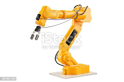 istock Robotic Arm, 3D rendering isolated on white background 904691400