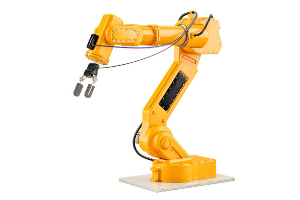 robotic arm, 3d rendering isolated on white background - crane construction machinery stock pictures, royalty-free photos & images