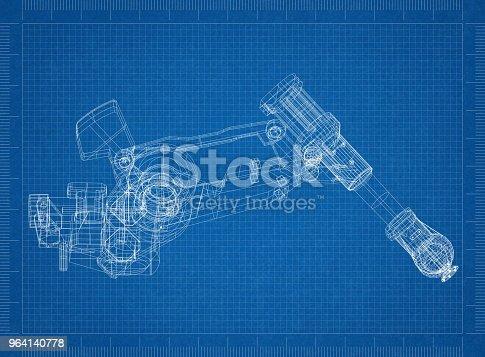 istock Robotic arm Architect blueprint 964140778