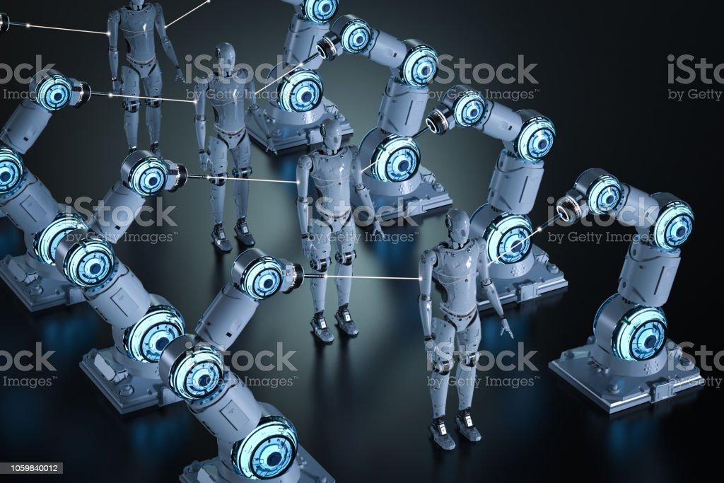 로봇 아암 조립 체 스톡 사진