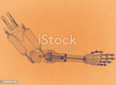 istock Robotic Arm Concept - Retro Architect Blueprint 1009560780