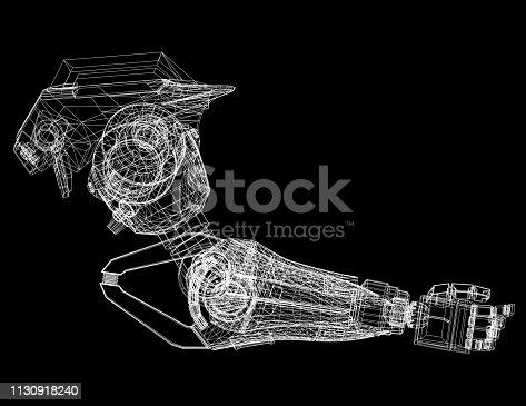 istock Robotic Arm Design Concept Architect Blueprint 1130918240
