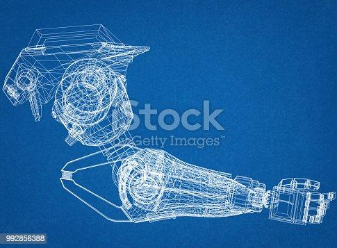 istock Robotic Arm Design Concept Architect Blueprint 992856388