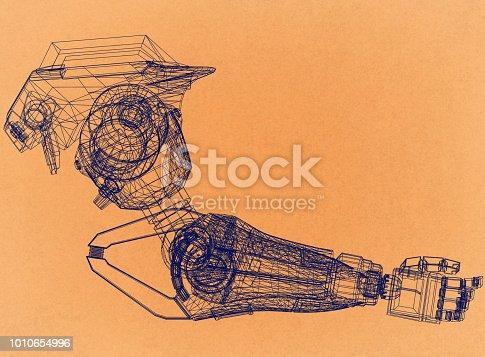 istock Robotic Arm Design Concept - Retro Architect Blueprint 1010654996