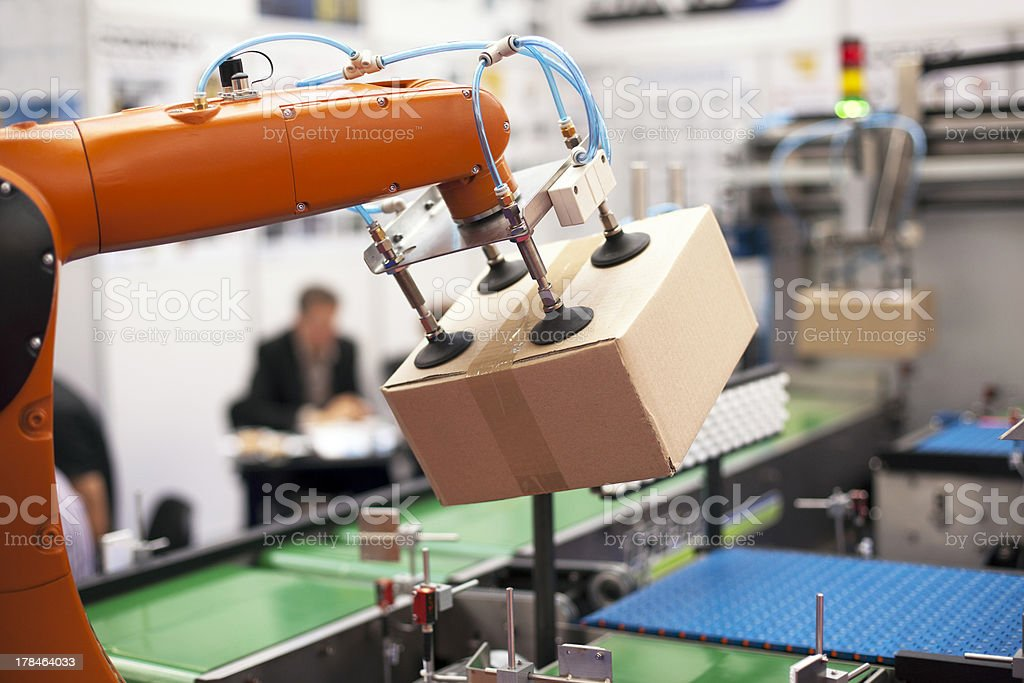 Robotic arm for packing stock photo