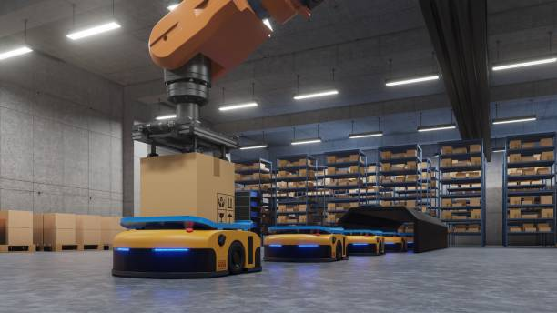 robotic arm for packing with producing and maintaining logistics systems using automated guided vehicle (agv). - metal robot in logistic factory foto e immagini stock