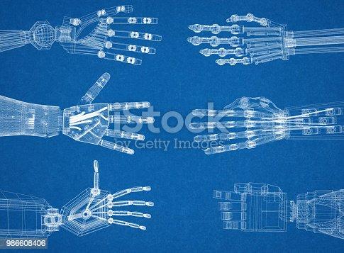 istock Robotic Arm - Hands Architect Blueprint 986608406
