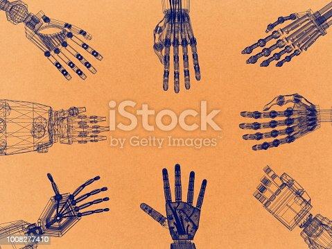 istock Robotic Arm - Hands Retro Architect Blueprint 1008277410