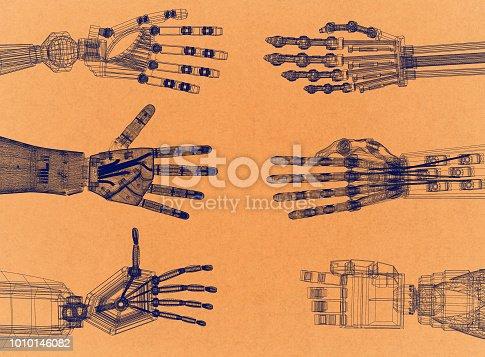 istock Robotic Arm - Hands Retro Architect Blueprint 1010146082