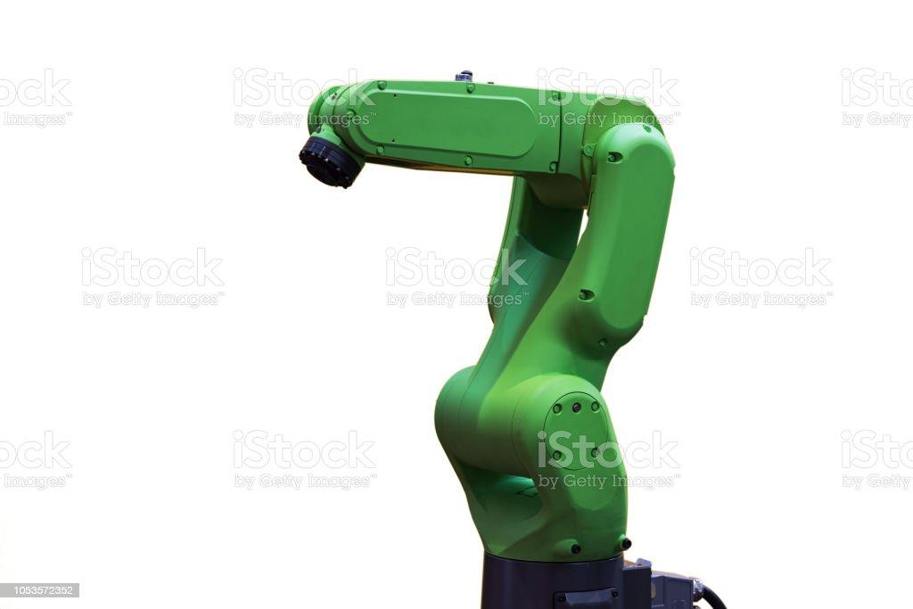 Robotic arm in white background stock photo