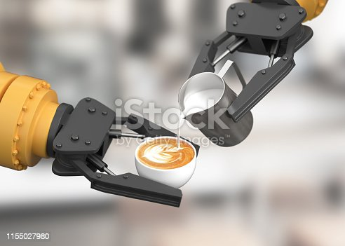 Robotic arm make latte art. 3D illustration