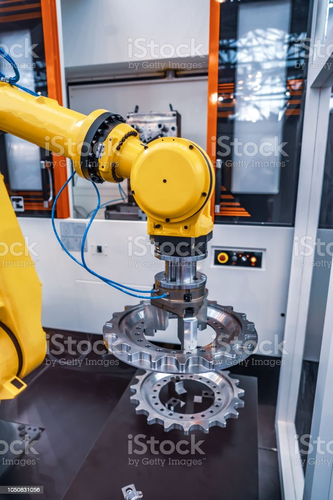 Robotic Arm modern industrial technology. Automated production cell. stock photo