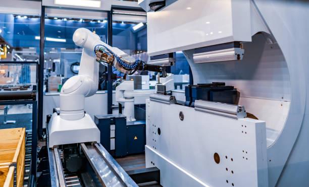 Robotic Arm moderne industrielle Technologie. Automatisierte Fertigungszelle. – Foto