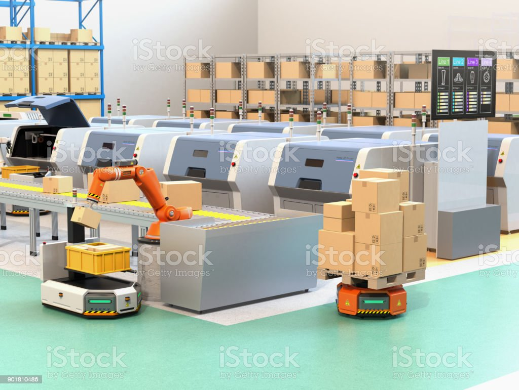 Robotic arm picking parcel from conveyor to AGV. From the monitor of 3D printers' lines could check the process of printing state stock photo