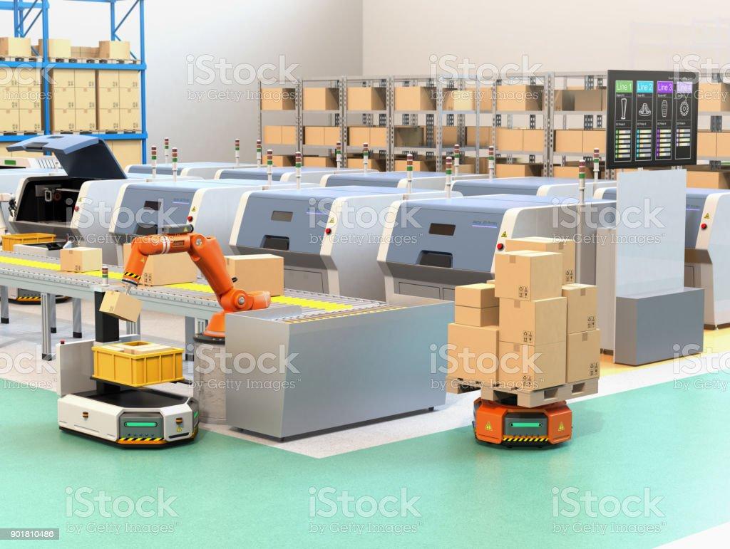 Roboterarm Kommissionierung Paket vom Förderband, AGV. Aus dem Monitor 3D konnte Drucker Linien den Prozess der Druckzustand überprüfen. – Foto