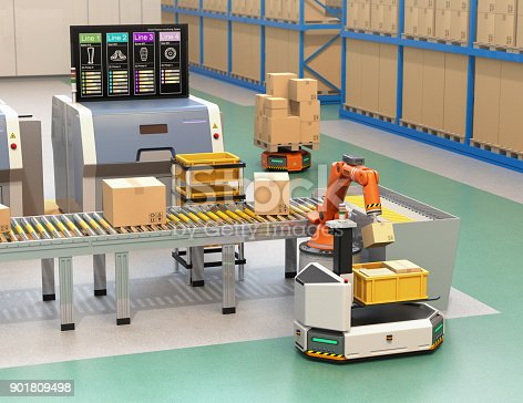 istock Robotic arm picking parcel from conveyor to AGV 901809498
