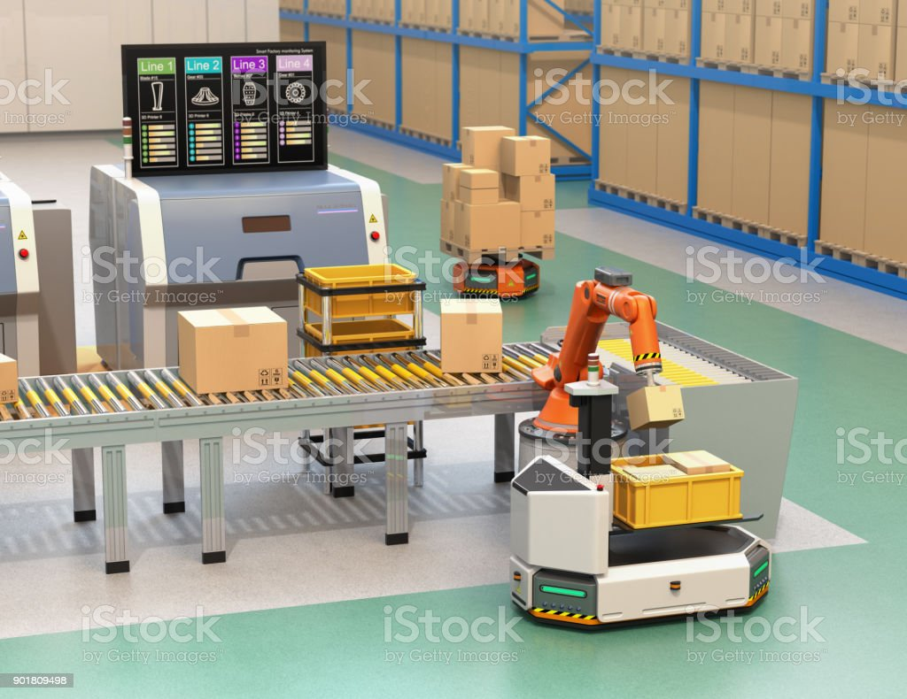 Robotic arm picking parcel from conveyor to AGV stock photo