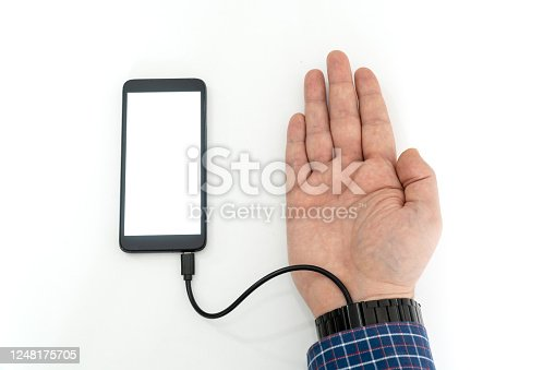 istock Robotic arm transfering data form a cellphone concept 1248175705