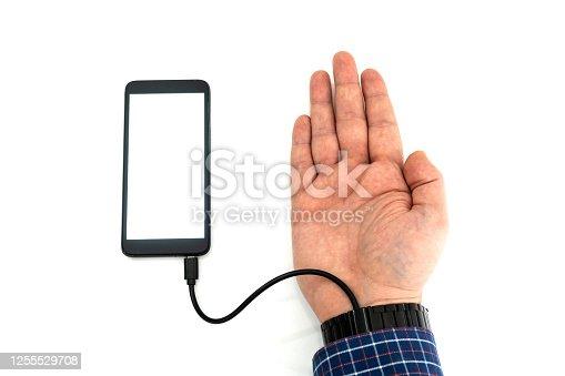 istock Robotic arm transfering data form a cellphone concept 1255529708