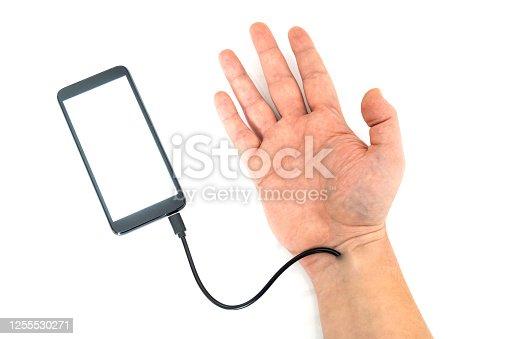 istock Robotic arm transfering data form a cellphone concept 1255530271