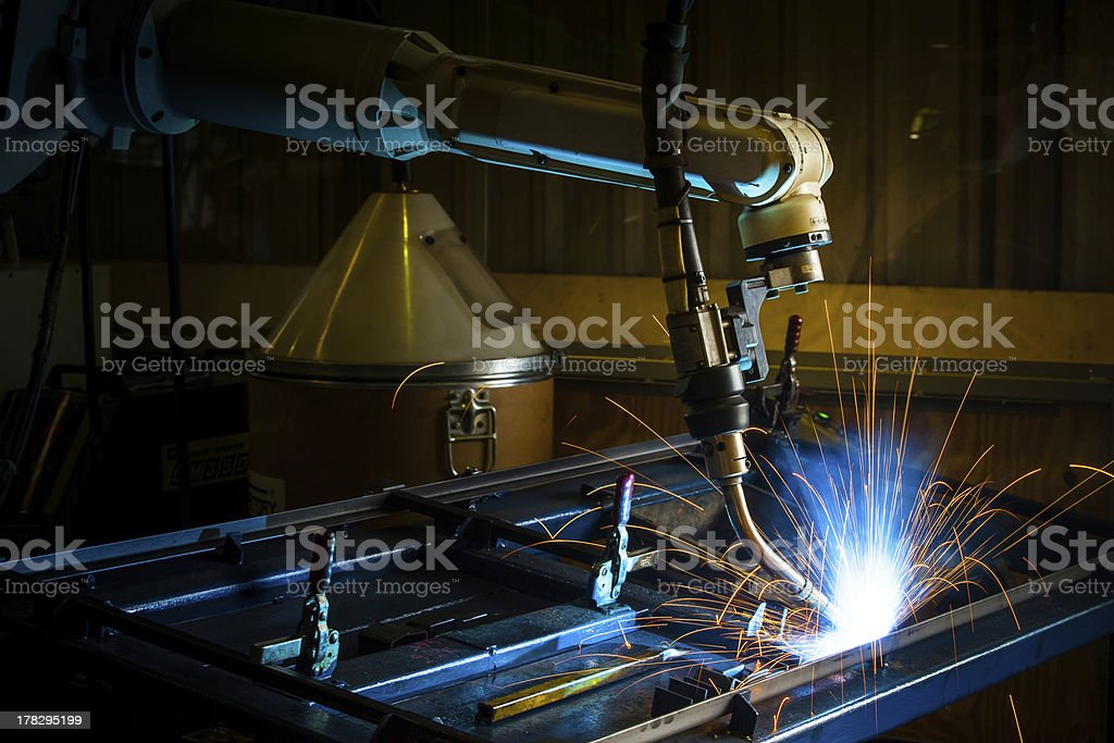 Robotic arm welding. stock photo