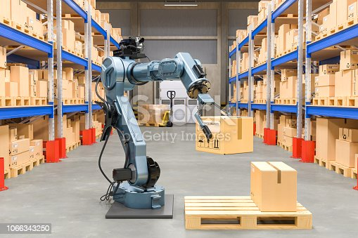 istock Robotic arm with cardboard box. Automatic warehouse concept. 3D rendering isolated on white background 1066343250
