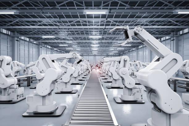 robotic arm with conveyor line stock photo