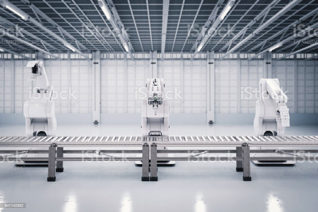 robotic arm with conveyor line stock photo