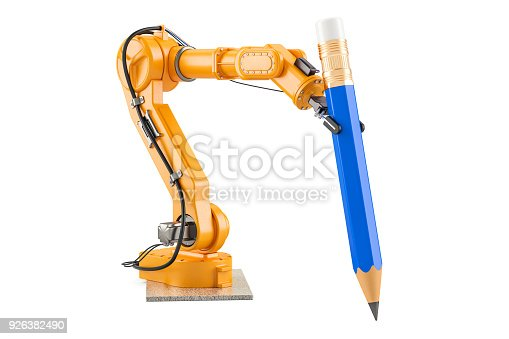 istock Robotic arm with pencil, 3D rendering isolated on white background 926382490