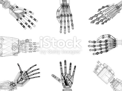 istock Robotic Arms - Hands Architect Blueprint - isolated 988213142