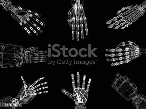 istock Robotic Arms - Hands Architect Blueprint 1132019720