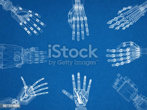 istock Robotic Arms - Hands Architect Blueprint 987354656