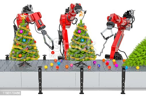 1067810314 istock photo Robotic arms sorting garbage, automatic sorting of trash. 3D rendering isolated on white background 1193170486