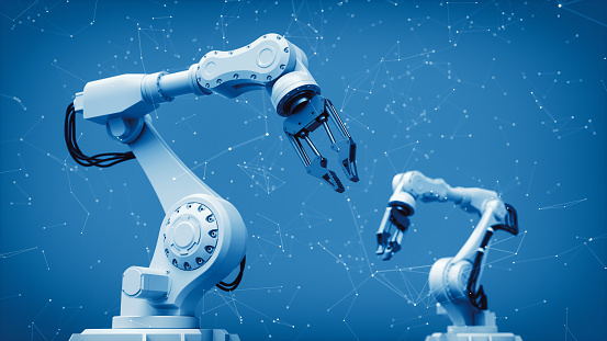 Robotic arms, factory 4.0 and technology background.