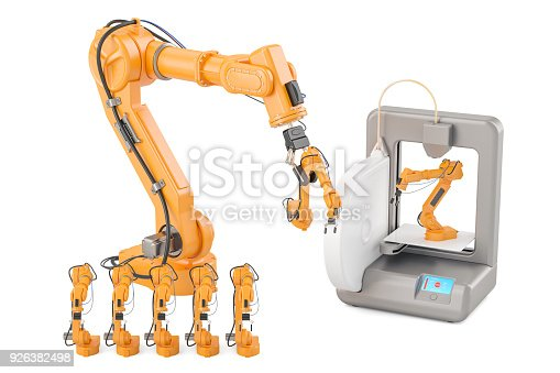 istock Robotic arms with 3D printer, 3D rendering isolated on white background 926382498