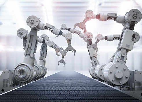 Robotic Arms With Empty Conveyor Belt Stock Photo - Download Image Now