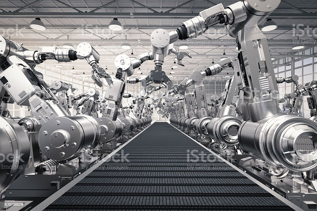 robotic arms with empty conveyor belt bildbanksfoto