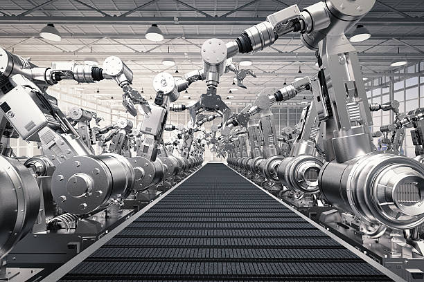 robotic arms with empty conveyor belt - automated stock photos and pictures