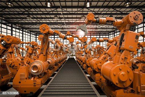 istock robotic arms with empty conveyor belt 637430968