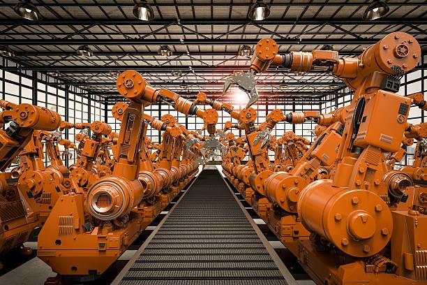 Brazos robóticos con cinta transportadora vacío - foto de stock